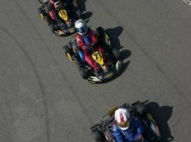 Racers one by one at the go kart track in Bucharest